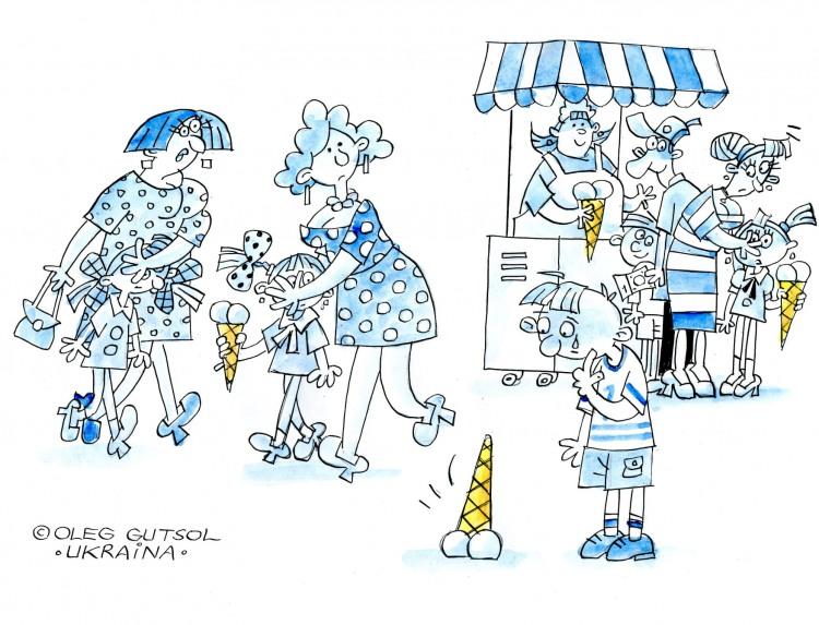 Картинка  про мороженое, воображение и падение