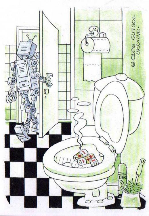 Картинка  про роботов, батарейки, унитаз отвратительный