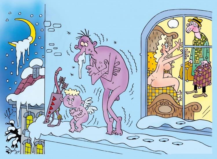 Картинка  про амура, любовников пошлый