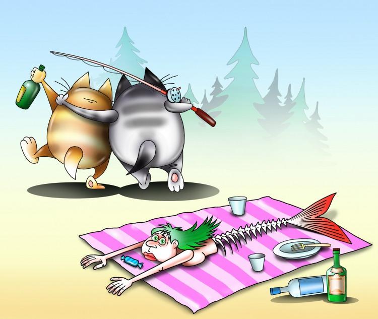 Картинка  про котов, рыбаков, русалок черный