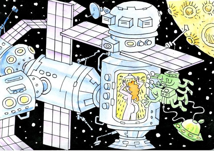 Картинка  про космонавтов, душ, инопланетян, подглядывание пошлый