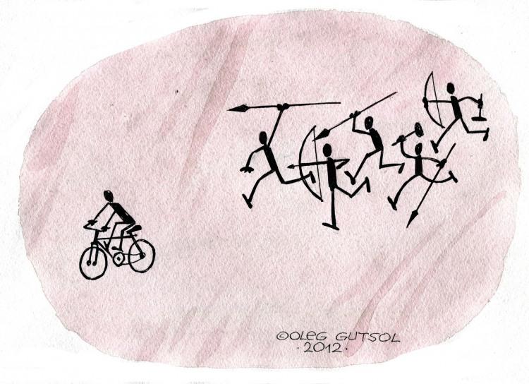 Картинка  про велосипедистов и каменный век